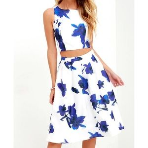 Lulu's Ivory and Blue Floral Two-Piece Dress